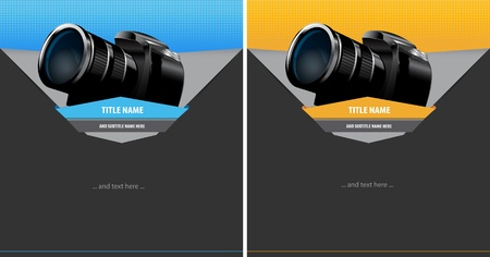 digicam: Two abstract vector background with digital camera for text
