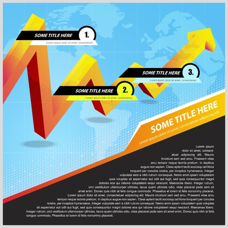 Abstract vector background with business arrow and continents for text