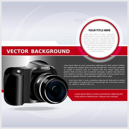 Abstracte vector achtergrond met digitale camera voor tekst