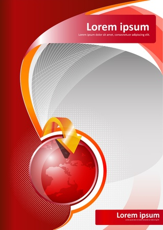 Vector red brochure background with globe