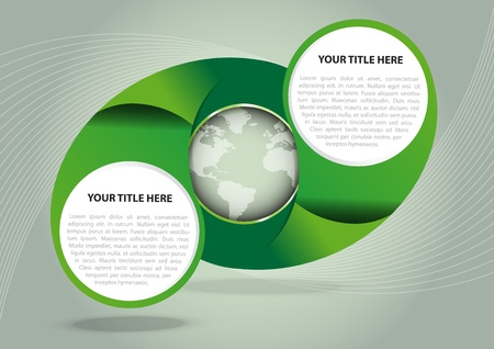 Green vector abstract background with globe for two texts Stock Vector - 13335149