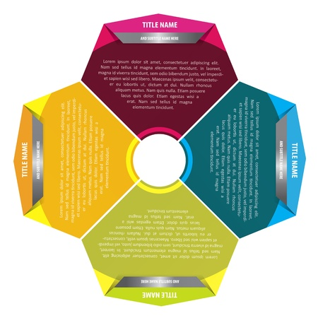 Abstract vector color fan chart for four texts