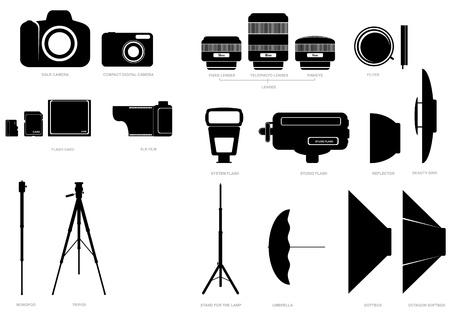 ensemble de silhouettes abstraites avec l'appareil photo et accessoires photographiques