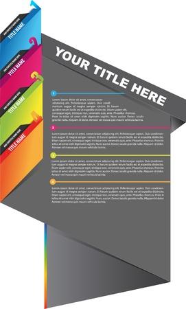 디자인: 네 개의 텍스트에 대한 책갈피와 추상 브로셔 디자인