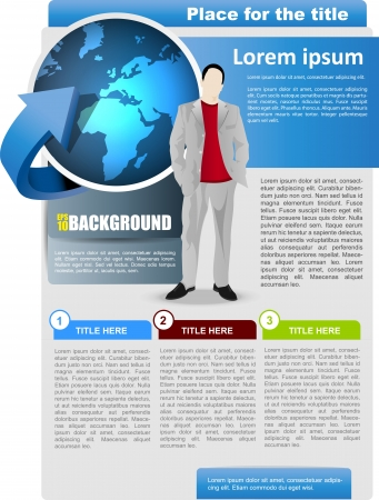 spedition: abstract business brochure background with globe and man Illustration