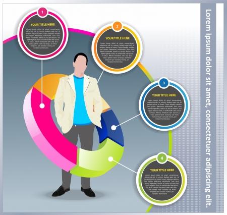 esquemas: conocimiento de los negocios con el gerente de pie en la tabla y juntan para el texto