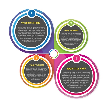 Abstract background scheme with four colored sections for texts Vector