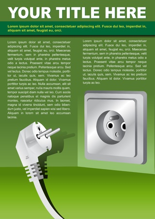 abstract brochure background concept with electrical plug Vector