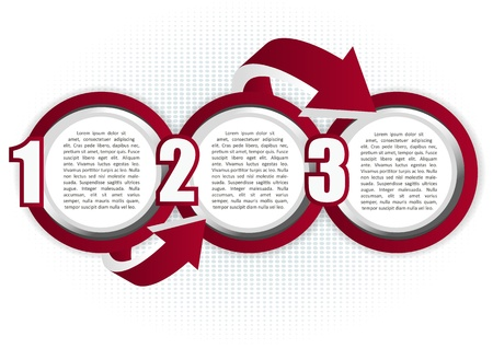 Abstract background with three bubbles steps and arrows for text Illustration