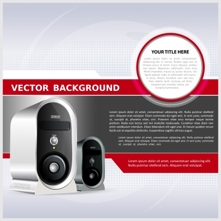 hardware: Resumen de antecedentes para el folleto o p�ster con una computadora Vectores