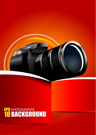 digital slr: Abstract red background with digital camera  Illustration