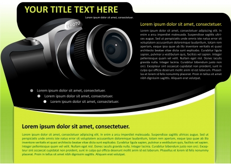 dslr: Vector brochure or poster background with digital camera