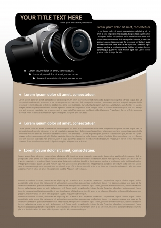 Vector brochure of poster achtergrond met digitale camera