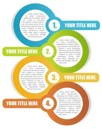 チラシ: パンフレットやウェブサイトのための 4 つのステップの抽象的な背景