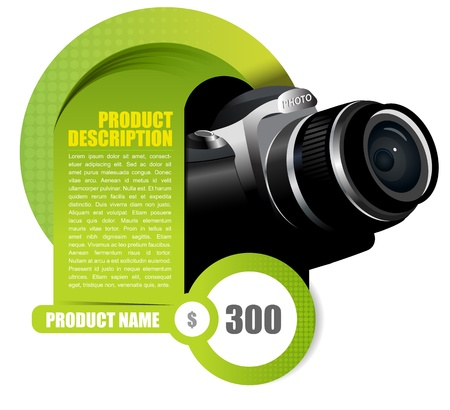 slr: Vector background element with camera for brochure or shop