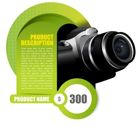 digital slr: Vector background element with camera for brochure or shop