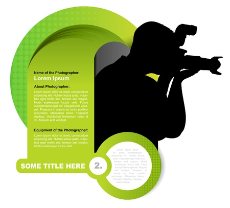 Green vector abstract background with photographer silhouette Illustration