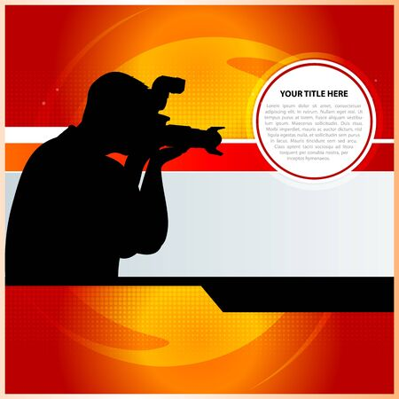 digital slr: Red vector abstract background with photographer Illustration