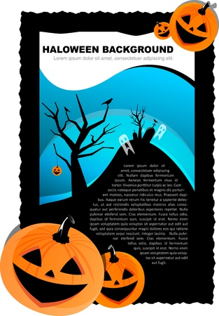 Vector Halloween background with pumpkin, ghost and grave Vector
