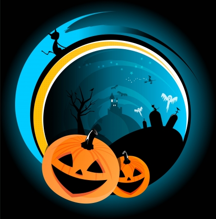 Halloween scary abstract background with witch, castle, pumpkin, cat and ghost Vector