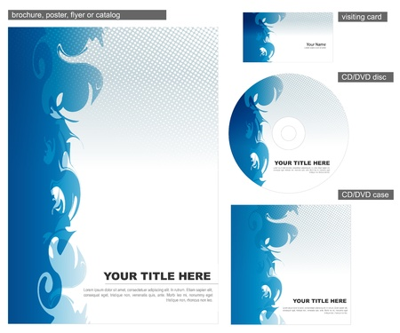 catalogue: Abstract blue corporate identity design Illustration