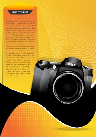 Abstract yellow background for brochure or poster with camera Vector