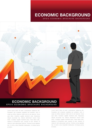 3d manager: Abstract vector economic background for brochure, flyer or poster