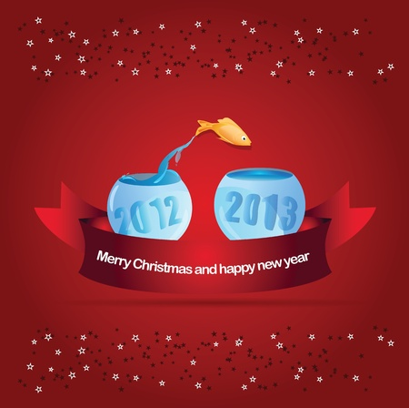 Abstract  christmas background with fish leaping into aquarium 2013 Vector