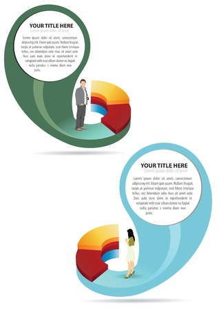 Abstract business graph with man or woman Vector