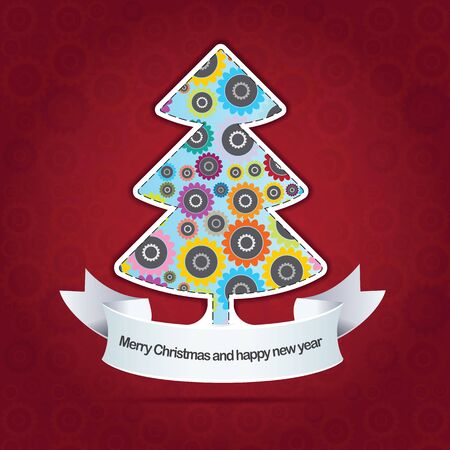 Abstract christmas background with floral Christmas tree Vector