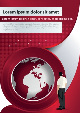 red brochure background with globe and manager Vector