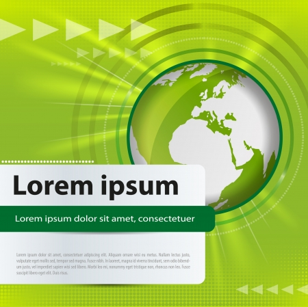 wereldbol groen: Abstract vector achtergrond met groene wereldbol en lichtstralen