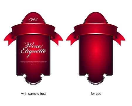 etiquette: Vector red etiquette background for wine or chocolate Illustration