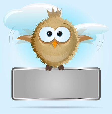 background with a flying bird holding a board for text Vector