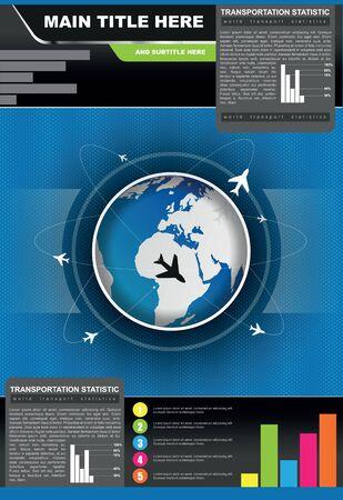 transporte terrestre: fondo estad�stico folleto con aviones volando en todo el mundo Vectores