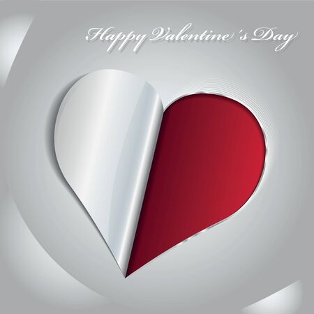 romance image: Abstract  Valentines background with red bent paper heart