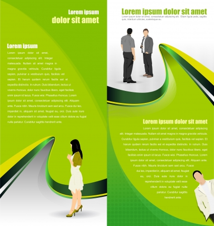 Vector green abstract background with people for a brochure or flyer Stock Vector - 17932407