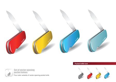 temperino: Set di vettore di apertura coltelli da tasca con l'icona