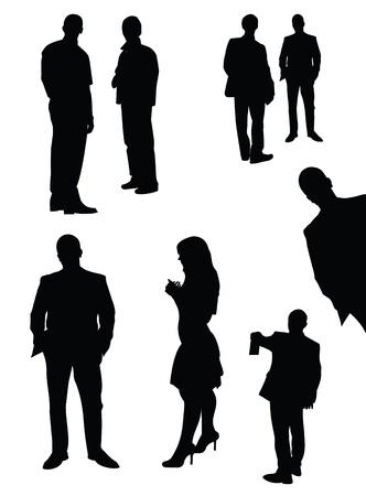 silueta hombre: conjunto de siluetas negras gerente aislados