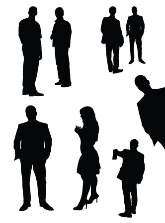 silhouette of man: set of black isolated manager silhouettes