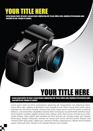 place for text:  poster or brochure with the camera and place for text