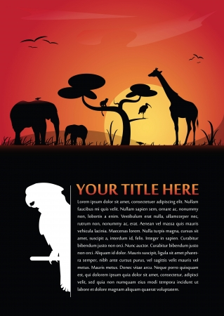 flying monkey: Vector abstract background for poster or brochure with african animals silhouettes and place for text Illustration