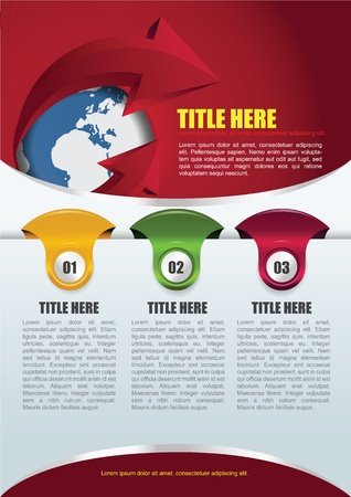 Red abstract background with globe, arrow and three tabs for brochure or flyer