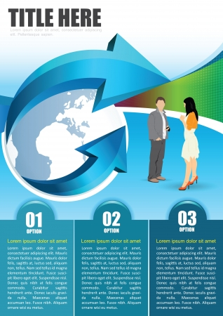 3d manager: Blue abstract background with globe, arrow, managers and three tabs for brochure or flyer   Illustration