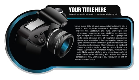 Black background element with realistic camera for brochure or shop Vector