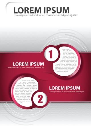 チラシ: テキストの 2 つの円でパンフレットやポスターの赤い背景の概念