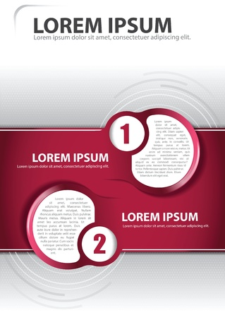 Red background concept for brochure or poster with two circles for text Ilustracja
