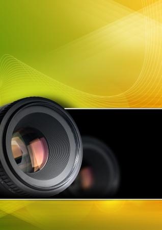 tecnología: Fondo fotográfico de colores con lente para el folleto, un cartel o un volante