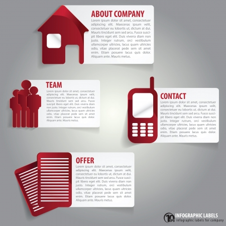 contact info: Abstract infographic labels with a description for company Illustration