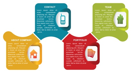 Vector abstract infographic labels with icons and a description for company Stock Vector - 20343124